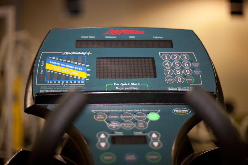 Exercise bike monitor demonstrating workout information