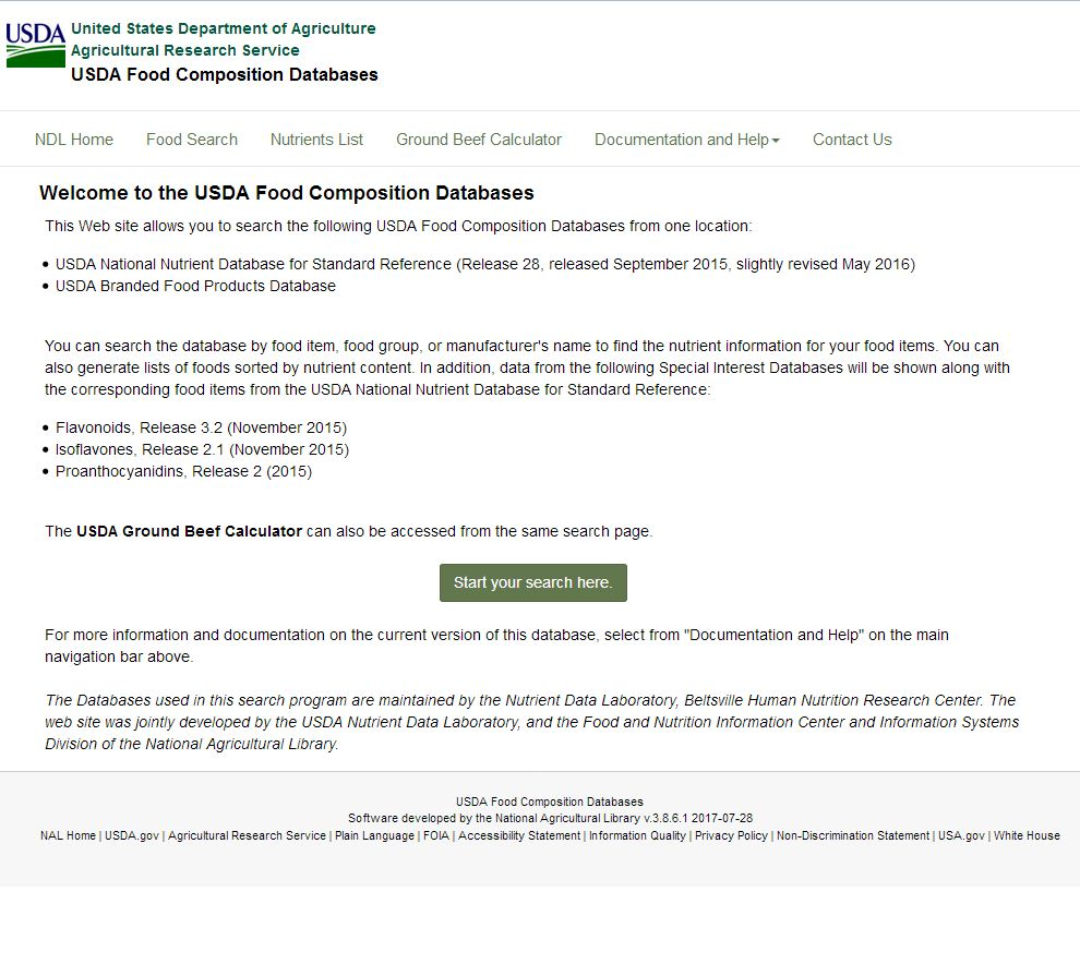 USDA Food Composition Database